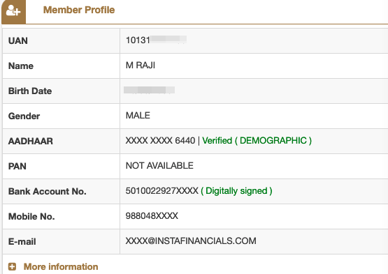 Check the status of Aadhaar and UAN link in your EPF Dashboard
